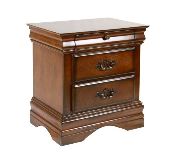 Wooden Bedroom Furniture of America Laurelle 2-Drawer Nightstand, Dark Oak