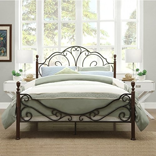 LeAnn Graceful Scroll Bronze Iron Bed Frame Antique Bedroom Furniture