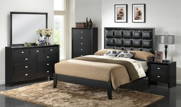 Roundhill Furniture Ecrille 350 Wood Leather Bedroom Set, Includes Queen Bed, Dresser, Mirror and Night Stand