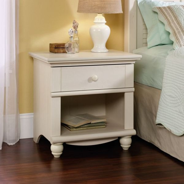 Sauder Harbor View Night Stand, Antiqued White Finish