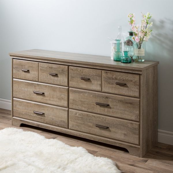 South Shore Versa 6-Drawer Double Dresser, Weathered Oak