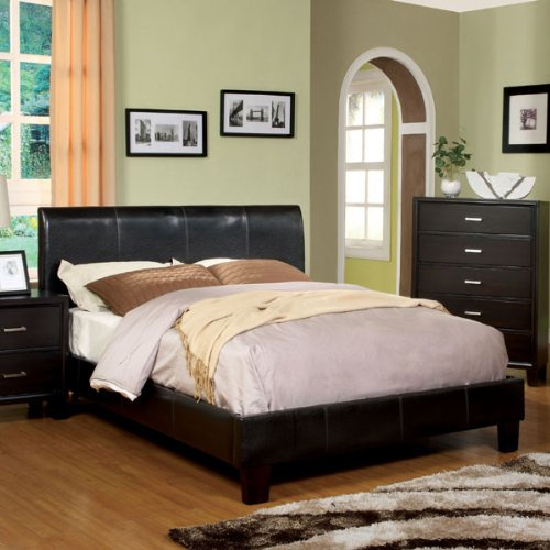 Villa Contemporary Style Espresso Finish Leatherette Cal King Size Platform Bed Frame Set