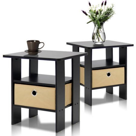Furinno Petite End Table Bedroom Night Stand, Set of 2 - Espresso