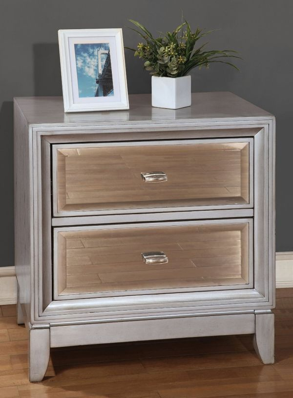 Furniture of America Sterling Contemporary Nightstand, Silver