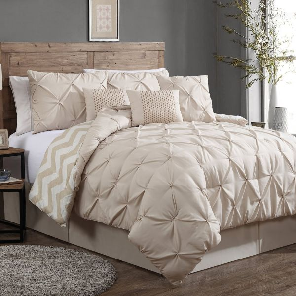 Geneva Home Fashion 7-Piece Ella Pinch Pleat Comforter Set Queen Taupe