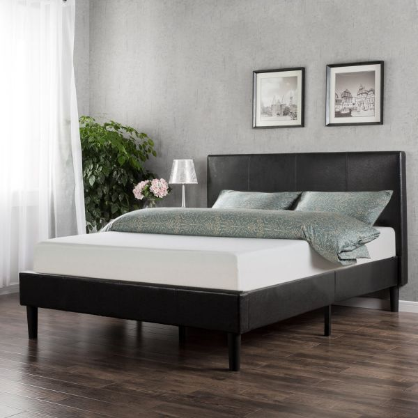 Sleep Master Memory Foam 10 Inch Mattress and Faux Leather Platform Bed Set Queen Size