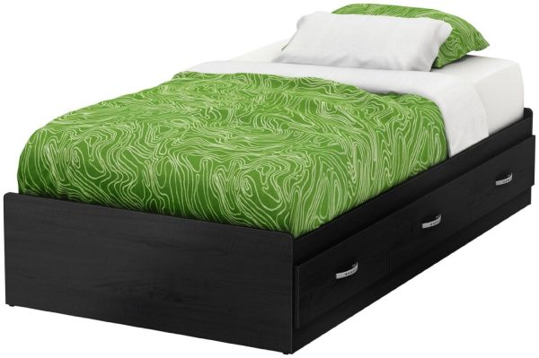 South Shore Furniture 39'' Lazer Mates Bed, Modern Twin Bedroom Sets, Black Onyx