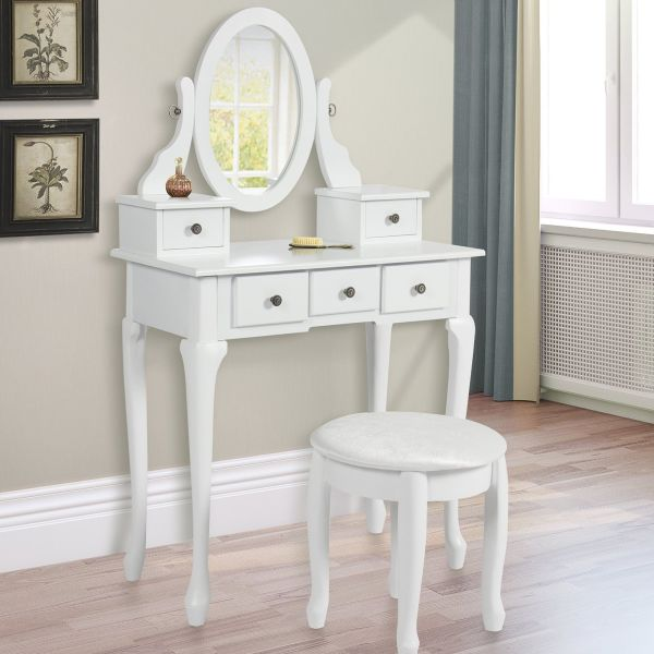 Vanity Armoire Makeup Table Set - White Modern Bedroom Vanity Sets