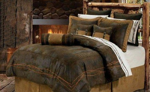 Western Rustic Chocolate Barbwire Bedding Set 7pc Super King