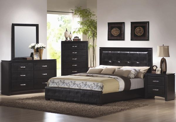 4pc California King Bedroom Sets in Black Finish