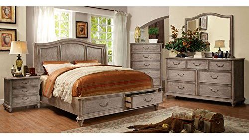 Belgrade Transitional Style Rustic Weathered Oak Finish Eastern King Size Bedroom Set