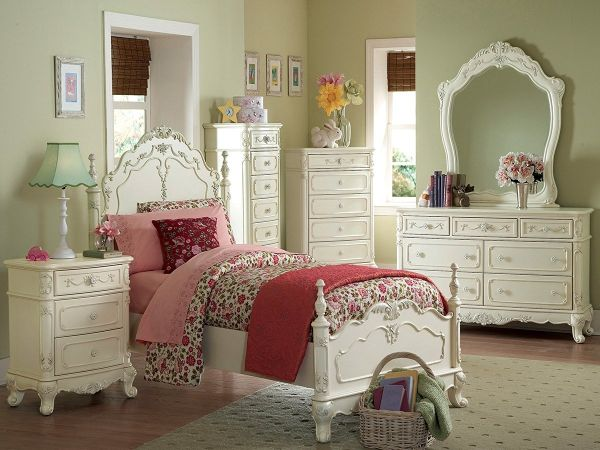 Cinderella 4 PC Twin by Home Elegance in Off-White Cream Bedroom Furniture