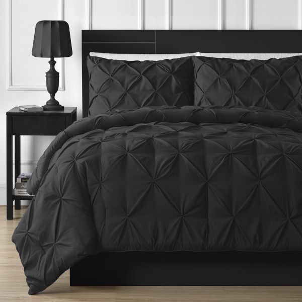 Double-Needle Durable Stitching Comfy Bedding 3-piece Pinch Pleat Comforter Set
