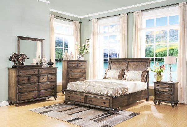 Fortuna 4 Piece Rustic Eastern King Bedroom Furniture Sets in Weathered Brown Finish