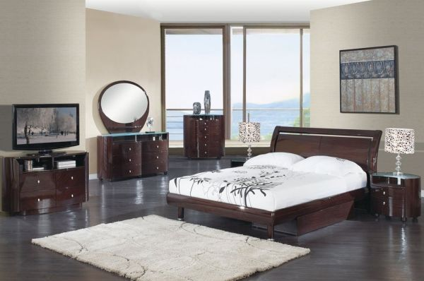 Global Furniture Emily Collection MDF Wood Veneer Cheap Queen Bedroom Sets Wenge