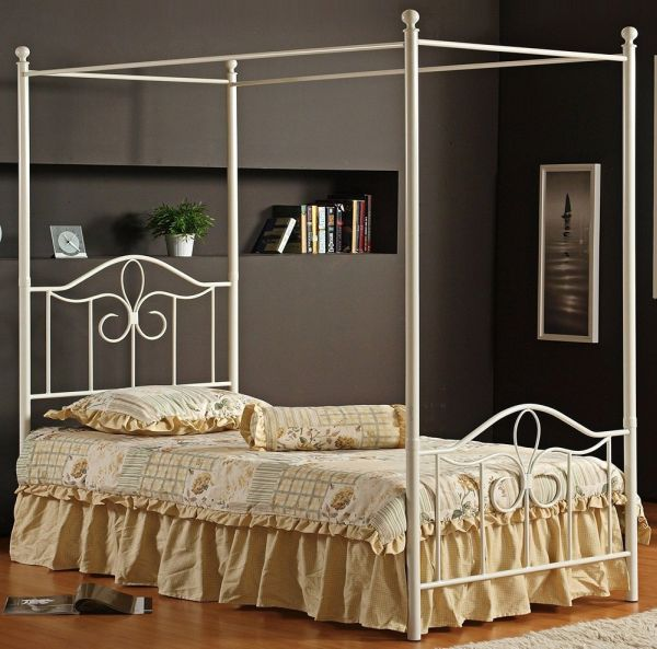 Hillsdale Furniture Westfield Canopy Bed Set with Rails Full Off White