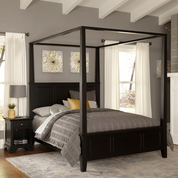 Home Styles Bedford Queen Black Canopy Bedroom Sets and Night Stand