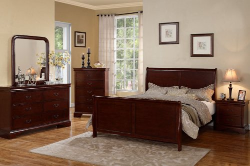 Louis Phillipe Cherry Queen Size Bedroom Set Featuring French Style Sleigh Platform Bed
