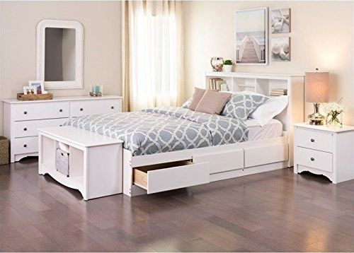 Prepac Monterey Queen 5 Piece White Bedroom Sets