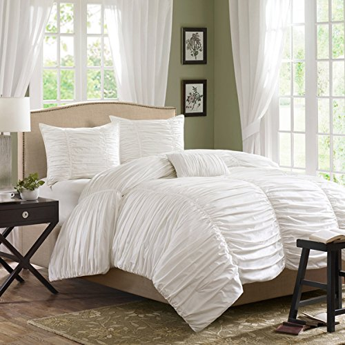 Queen Cream Comforter Set Contemporary Ruched Ruffles Elegant Sophisticated Bedding