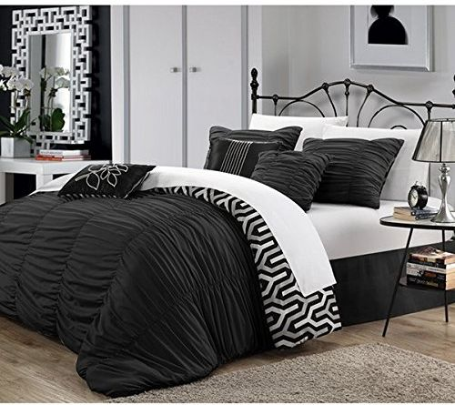 Queen Dark Black Silver Ruched Comforter Set Stylish Luxury Modern Master Bedroom Bedding Sets