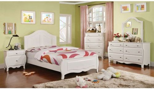 Roxana Cottage Style White Finish 6 Piece Full Size Youth Complete Bedroom Set