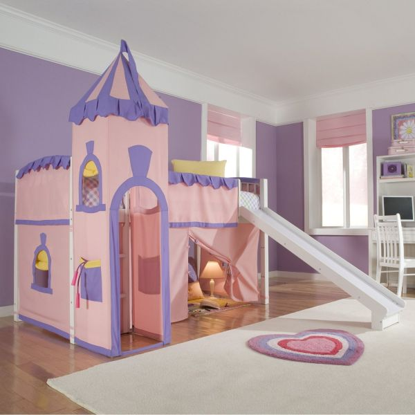 Schoolhouse Twin Princess Loft Bed with Slide Perfect for Your Girls Bedroom Sets