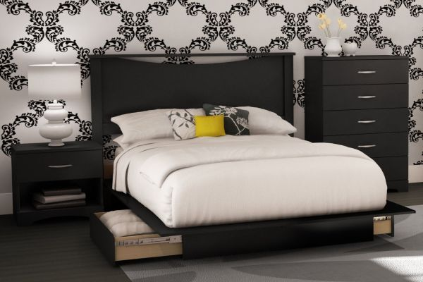 South Shore Bedroom Set Step One Collection Black 4-Piece
