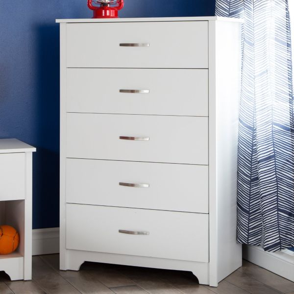South Shore Furniture Fusion 5-Drawer Chest Pure White