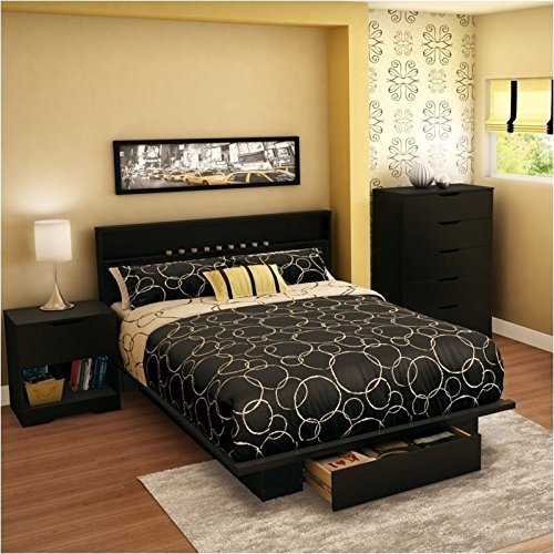 South Shore Trinity Full Bedroom Sets in Pure Black