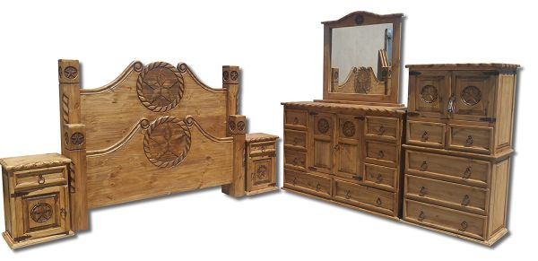 Texas Star Rustic Queen Size Bedroom Sets With Rope Accents Solid Wood