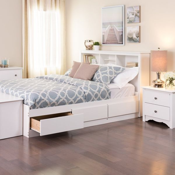 White Bedroom Furniture Queen Mates Platform Storage Bed with 6 Drawers