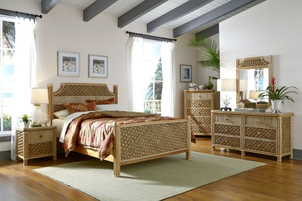 Mandalay 5 Piece Natural Rattan Wicker Bedroom Furniture Sets from Spice Islands