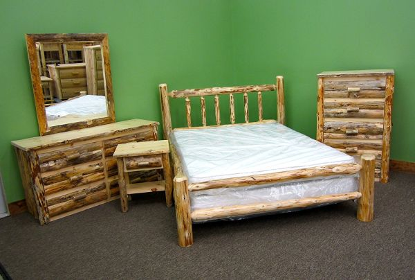 Midwest Log Furniture Rustic Log Bedroom Suite Queen 5pc