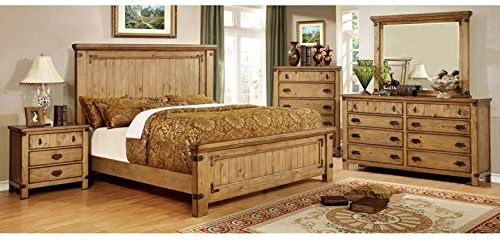 Pioneer Country Style Weathered Elm Finish Queen Size 6-Piece Bedroom Set