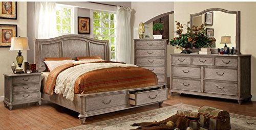 Style Rustic Weathered Oak Finish Cal King Size Bedroom Set