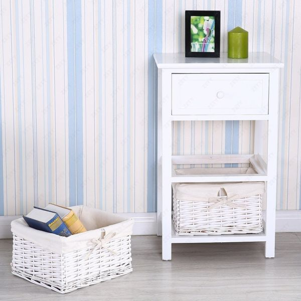 UenJoy Retro White Shabby Chic Nightstand End Side Bedside Table with Wicker Storage Wood