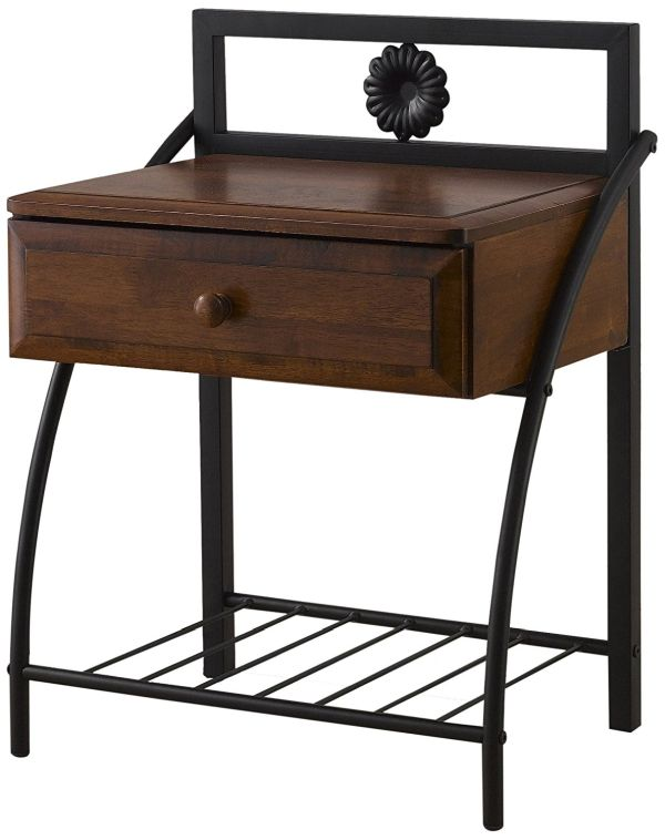 Bronze Black Vintage Bedroom Furniture Antique Metal and Walnut Wood 1 Drawer Nightstand Medium