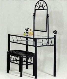 Black Metal Bedroom Vanity with Glass Table and Bench Set