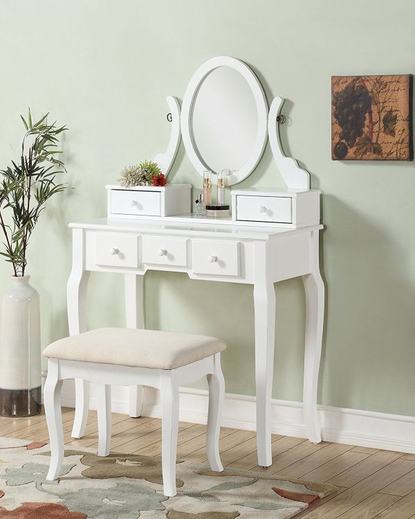 Roundhill Ashley Make-Up Vanity Table and Stool Set White Wooden Bedroom Furniture