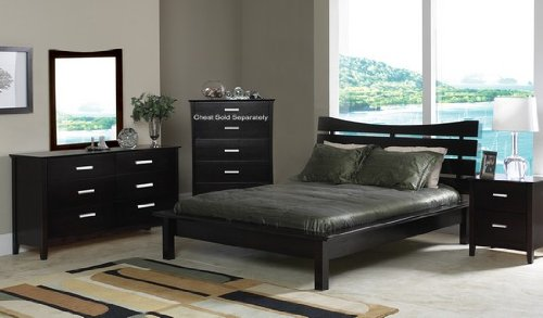 4pc Contemporary Cappuccino Finish Queen Size Platform Bed Bedroom Set
