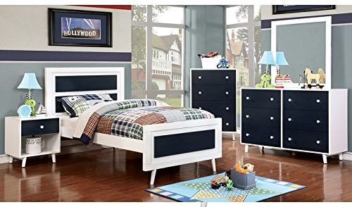 Alivia Blue and White Finish Full Size Bedroom Furniture Sets 5 pieces NO TRUNDLE