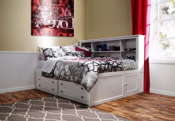 Beatrice Girls Youth Bedroom Furniture Sets 4 Piece Full Lounge in White Finish