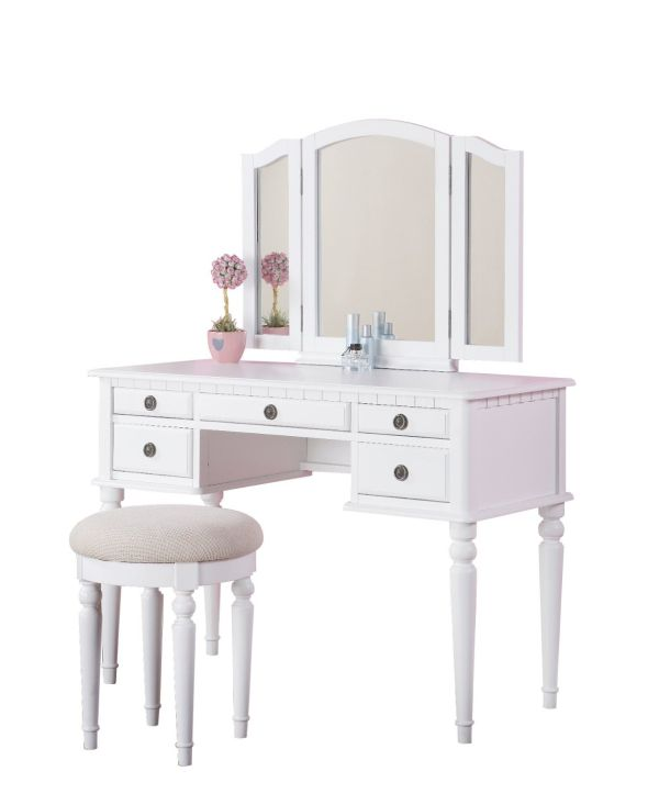 Bobkona St. Croix Collection Vanity Set with Stool, White