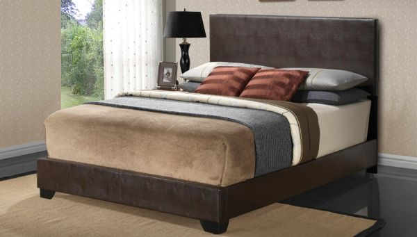 Cappuccino - Full Size - Modern Headboard Leather Look Upholstered Platform Bed