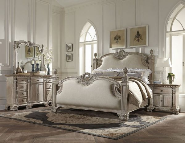 Chatelet French Style 5 Piece Queen Upholstered Bedroom Set - White Washed with Weathered Brown Top