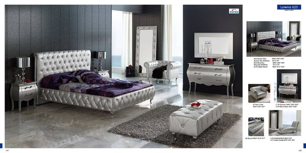 ESF Lorena Silver Fabric & Lacquer Queen Size Platform Bedroom Set