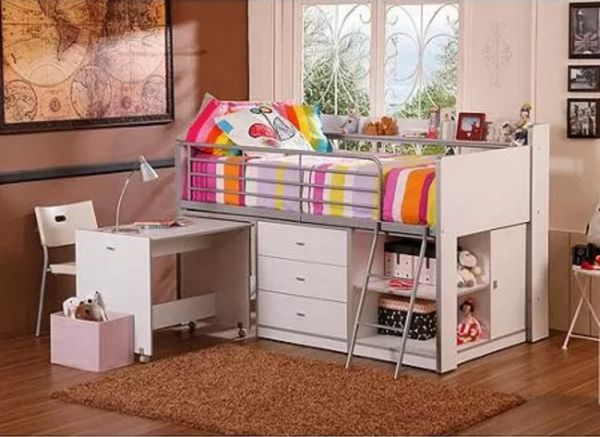 Loft Bed with Desk and Storage White Twin Girl Versatile Teen Bedroom Furniture Sets
