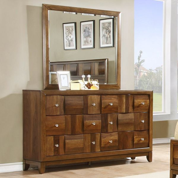 Roundhill Furniture Calais Solid Wood Construction Dresser and Mirror, King, Walnut