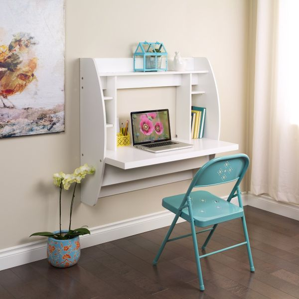 White Bedroom Furniture Ideas Floating Desk with Storage